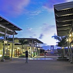 A view of the Pearl Harbor Visitor Center in the evening.