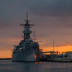 The Battleship Missouri at sunset.