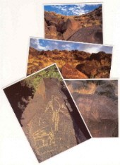 Photograph postcards featuring petroglyphs of a macaw, hand prints, and a mammal.
