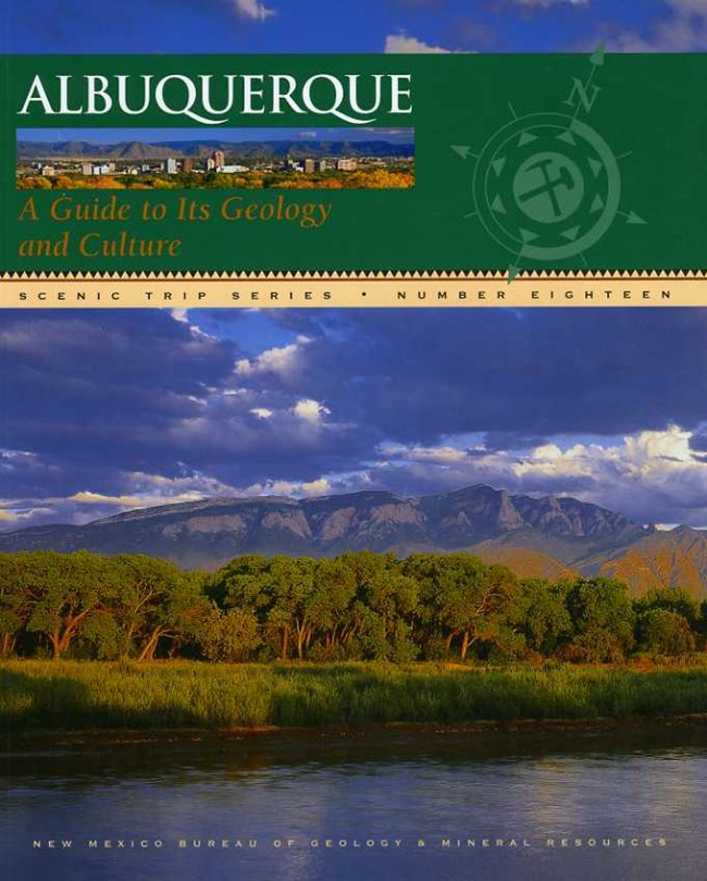 Book cover featuring the Rio Grande, the Bosque and the Sandia Mountains in the background.
