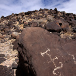 Historic animal brand petroglyph along the Mesa Point Trail.