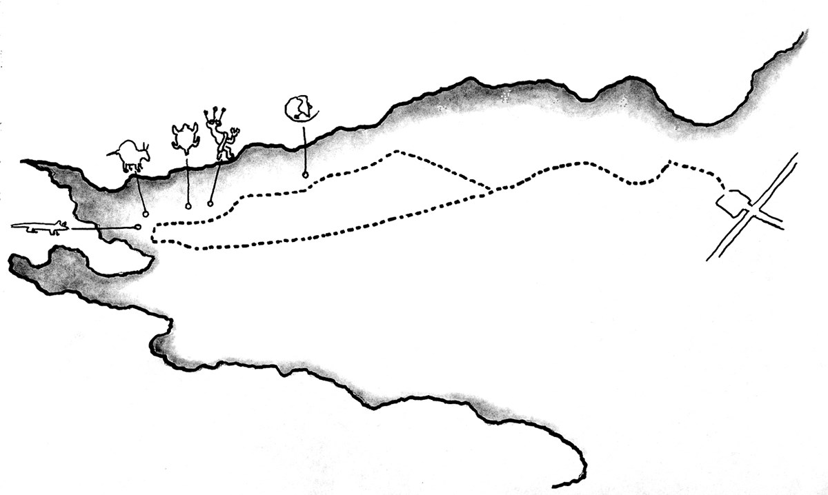 Black ink drawing of trail route in Rinconada Canyon