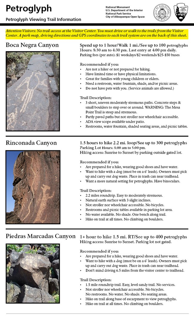 Three different petroglyph viewing trails with brief description of each trail.