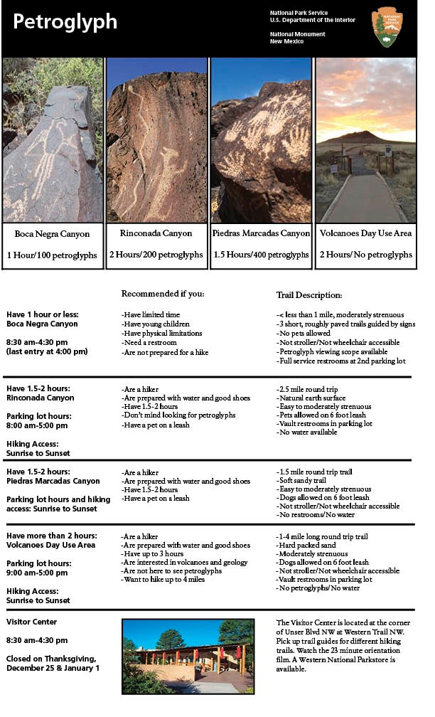 Image of four different trails featured on a single page with descriptions.