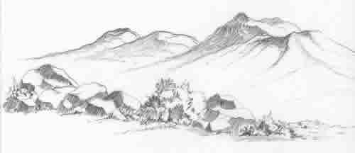 Pencil sketch of the Three Sisters, the volcanic cinder cones, with boulders and native plants in the foreground.