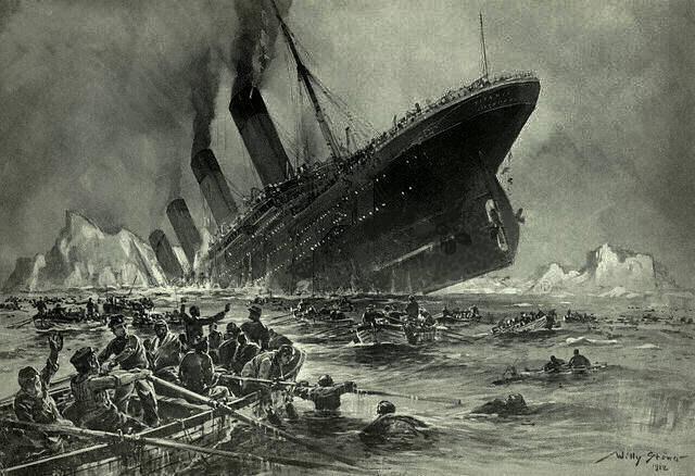 Sinking of the Titanic - artist's conception