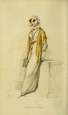 Lady in white regency dress with gold colored shawl- sketch