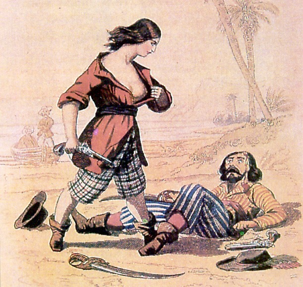Sketch of female sailor revealing herself to another sailor