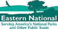 Eastern National logo- Serving America's National Parks and Other Public Trusts. Bird flying over landscape, shapes of green and whire.