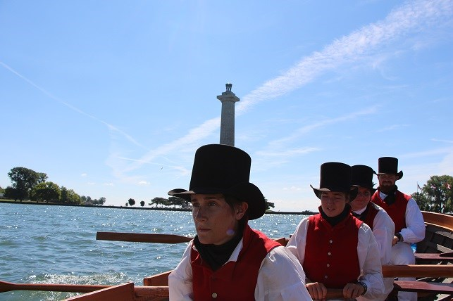 Rowing crew in period uniform