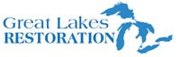 Great Lakes Restoration Initiative logo. Blue text with the shapes of the Great Lakes in blue. Rest of the area is white.