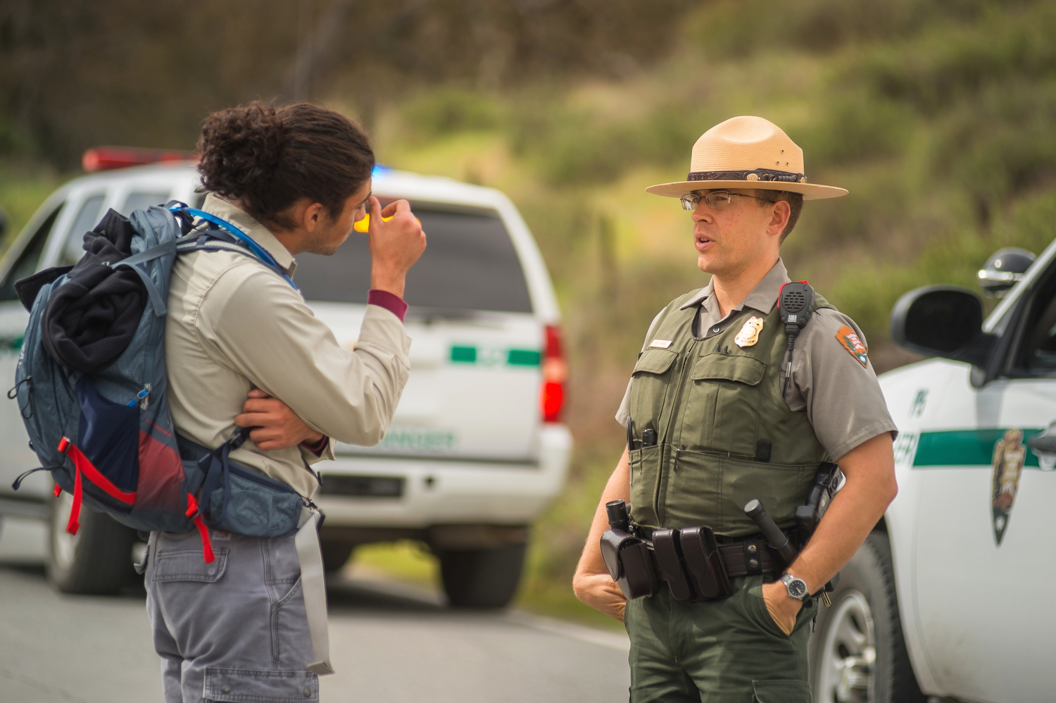 A park ranger gives directions.
