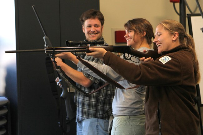 Biologists, interns, and hunters attend a non-lead shooting demonstration.