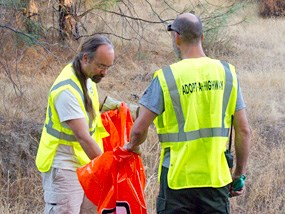 Pinnacles employees cleaning up park roads