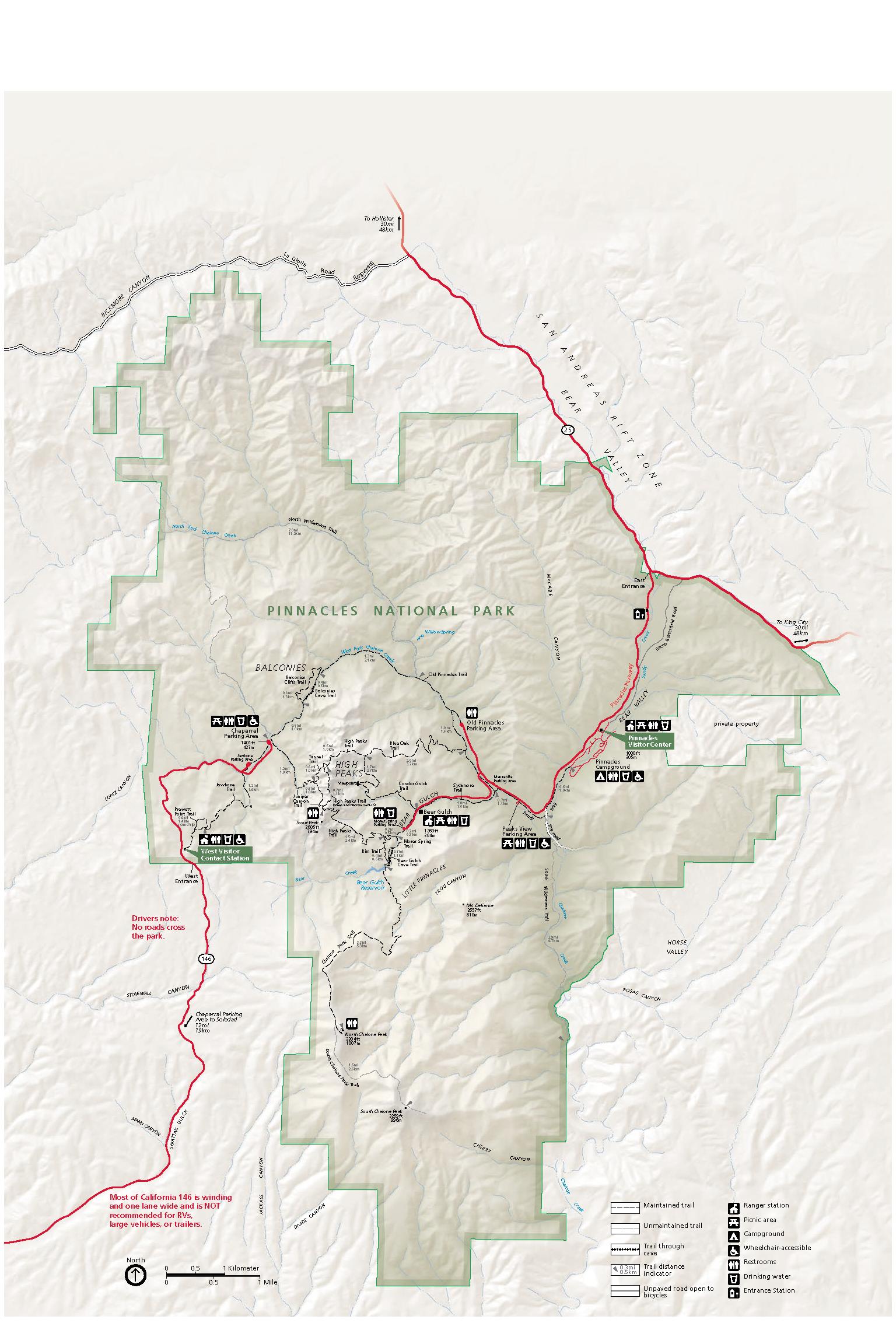 Pinnacles National Park Map - Pinnacles National Park Map