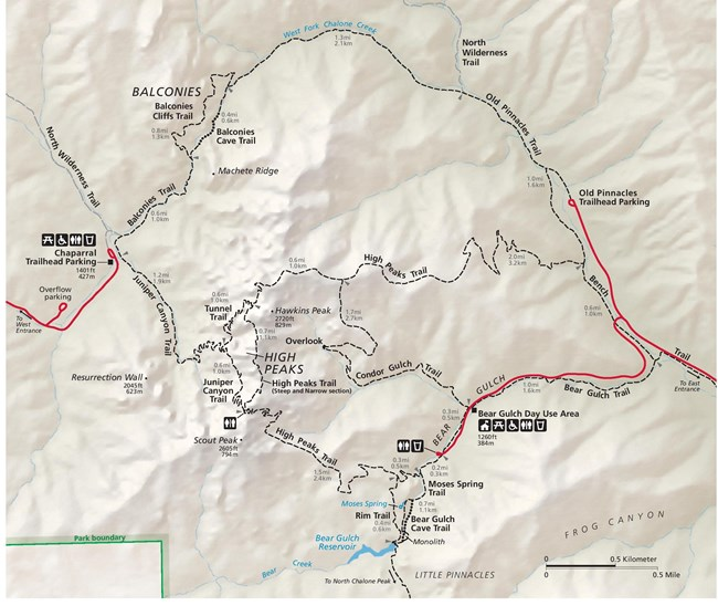 Detail map of the High Peaks Trails