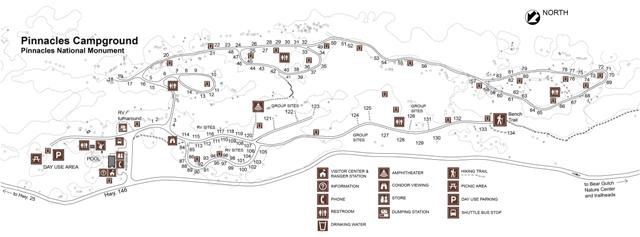 Pinnacles Campground Map