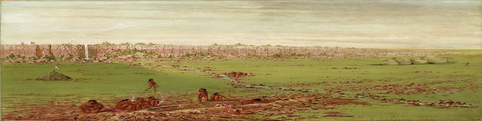 Artist George Catlin recorded the quarrying activity at the pipestone quarries in 1836