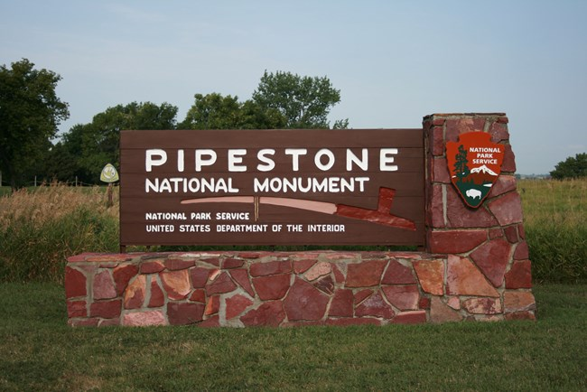 Welcome sign seen upon arrival at Pipestone National Monument