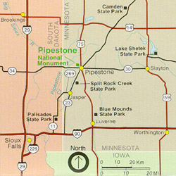 Regional map showing main highways into Pipestone, MN.