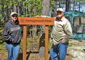Campground Hosts Doug and Cindy at Twelvemile Beach Campground, June 2014.