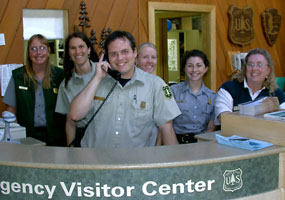 Pam, Janel, Lee, Laura, Jessica, and Autumn at the Interagency Visitor Center counter.