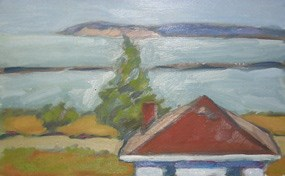This seagull's view painting by Marsha Tuchscherer depicts the cupola of the Grand Marais Coast Guard Station.