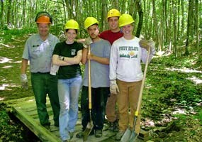 This Student Conservation Association trail crew volunteered their efforts on the Chapel Trail.