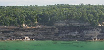 This shoreline photo of the Pictured Rocks was taken from an airplane.
