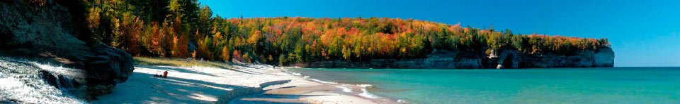 Autumn colors along Chapel Beach on a sunny fall day.