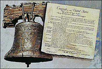 The Liberty Bell is depicted with the U.S. Constitution.