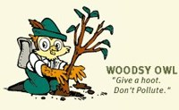 Woodsy Owl is kneeling while planting a tree.  He says,