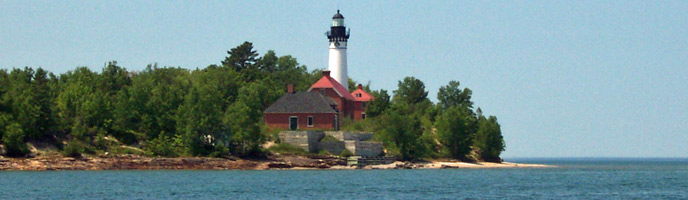 Au Sable Light Station as viewed from Lake Superior.