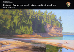 The cover of the Pictured Rocks National Lakeshore Business Plan is a painting of Miners River by Bill Lathrop.