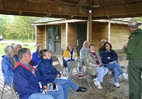 Superintendent Northup speaks with a group of citizens at the fall 2006 Experience Your Lakeshore program.