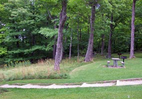 The picnic area at Miners Castle invites visitors to sit a spell and enjoy the view.
