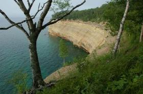 View of the Pictured Rocks cliffs from a backcountry spot along the North Country Trail