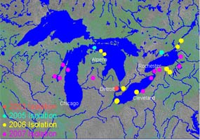 This aerial map of the Great Lakes depicts locations of VHS outbreaks.