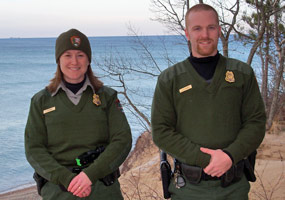 New Pictured Rocks National Lakeshore Park Rangers Tembreull and Hughes at Lake Superior.