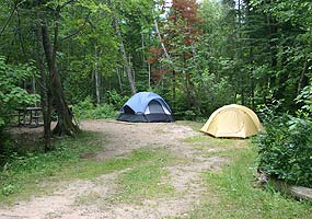 A campsite at Hurricane River Campground.