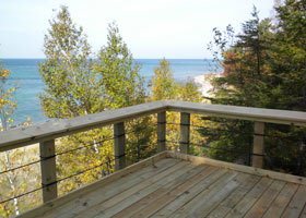 View of the lake and beach to the east from the Lake Superior Overlook first platform.