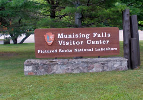 Entrance sign at the Munising Falls Visitor Center