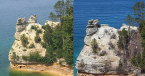 Miners Castle before and after a rockfall on April 13, 2006.