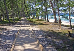 This trail is on the bluff above Miners Beach along Lake Superior.