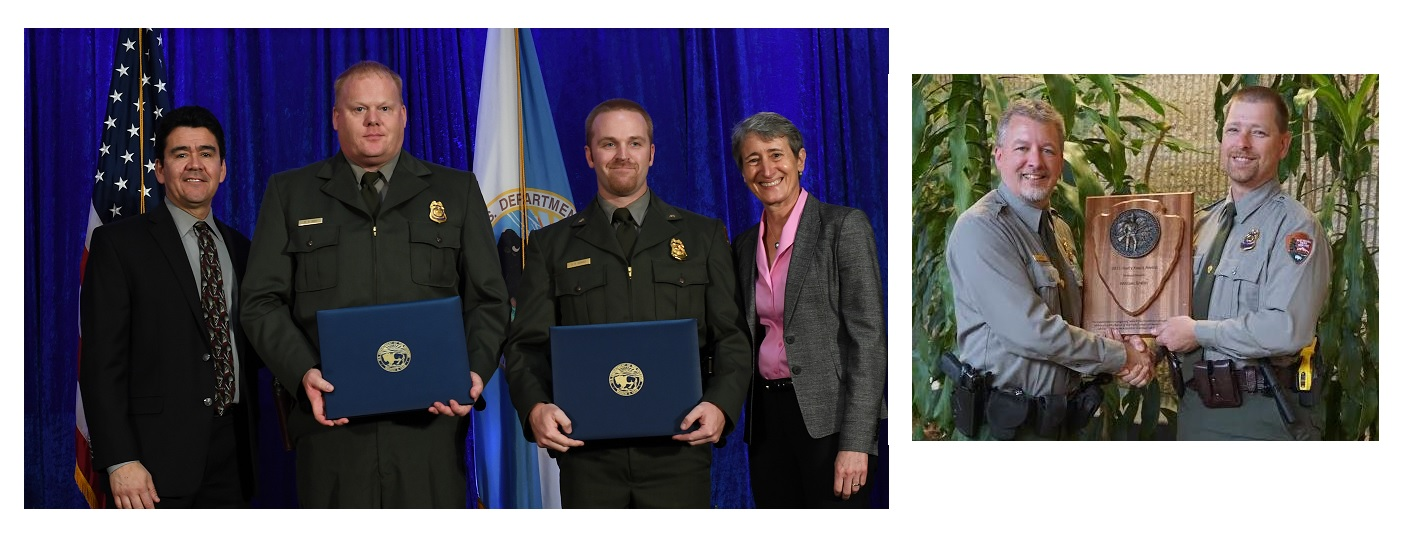 Officers Recognized for Valor Award (rangers Davis & Hughes) and Harry Yount Award (Ranger Smith)
