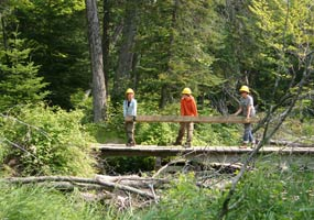 Three Youth Conservation Corps enrollees carry a timber over the Sable Creek bridge.