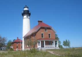 The Au Sable Light Station warns mariners of an offshore reef.