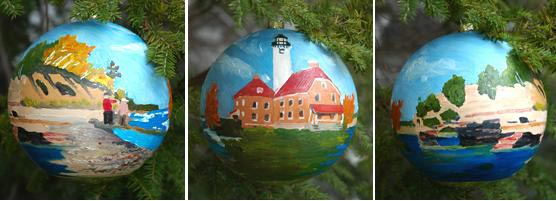 This gold globe ornament is adorned with three scenes from Pictured Rocks National Lakeshore, and is destined for the White House Christmas tree.
