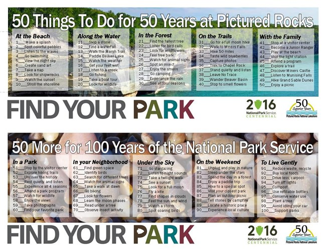 List of 50 things to do in the park and 50 to do elsewhere.
