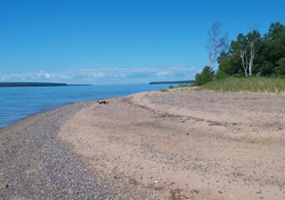 Sandy yet rocky beach along Ironwood Island at Apostle Islands National Lakeshore.